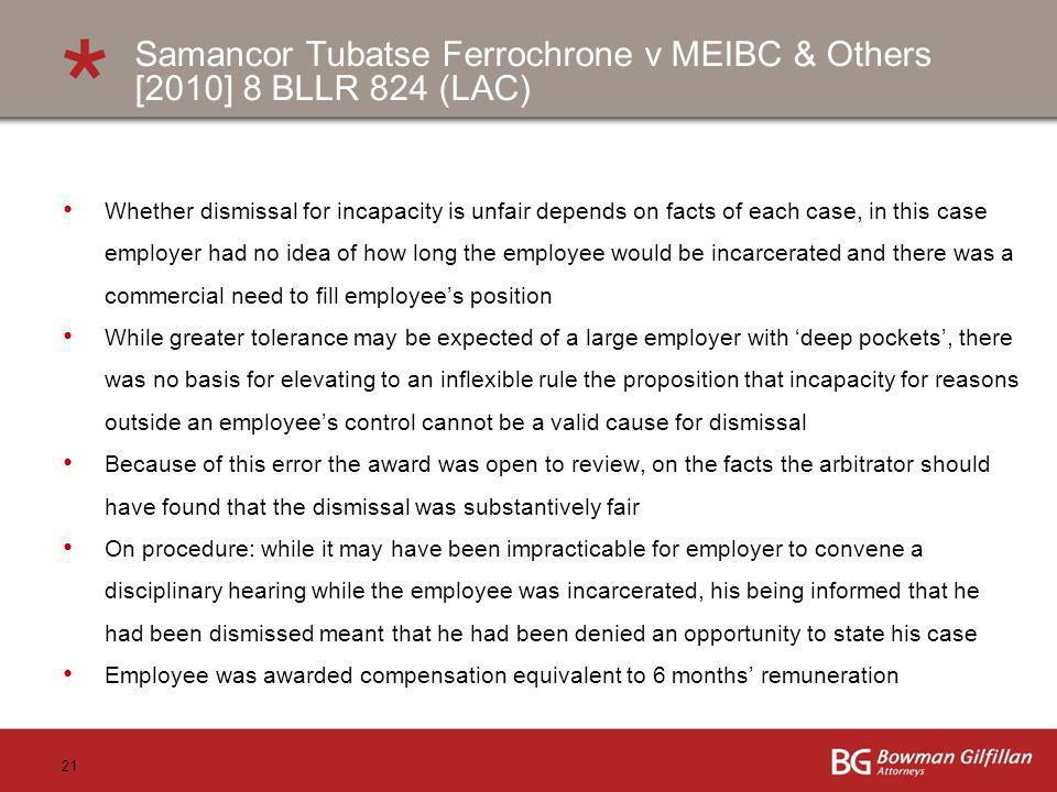 Samancor Tubatse Ferrochrone v MEIBC & Others [2010] 8 BLLR 824 (LAC)